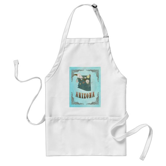 Arizona Map With Lovely Birds Adult Apron