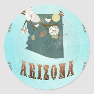 Arizona Map With Lovely Birds Classic Round Sticker