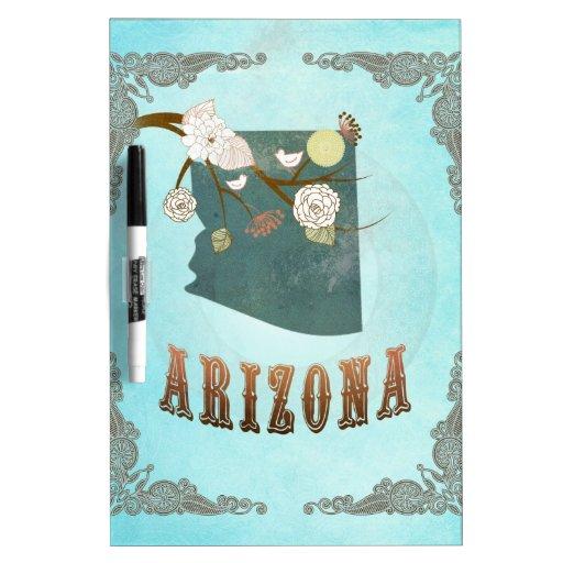 Arizona Map With Lovely Birds Dry Erase White Board