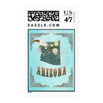 Arizona  Map With Lovely Birds Postage