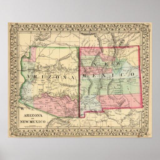 Arizona, mapa de New México de Mitchell Póster
