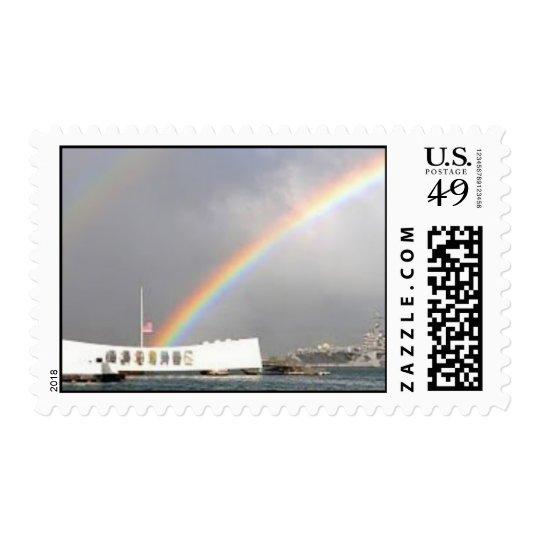 Arizona memorial USS Reagan rainbow Postage