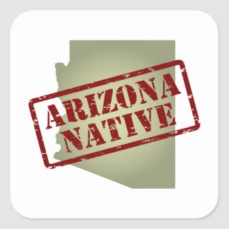 Arizona Native Stamped on Map Square Sticker