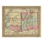 Arizona, New Mexico Map by Mitchell Poster
