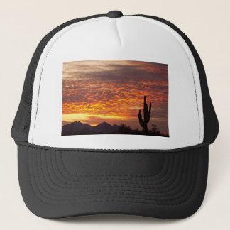 Arizona November Sunrise With Saguaro Trucker Hat