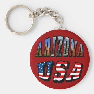 Arizona Picture and USA Flag Text Basic Round Button Keychain