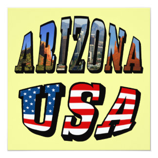 Arizona Picture and USA Flag Text Card