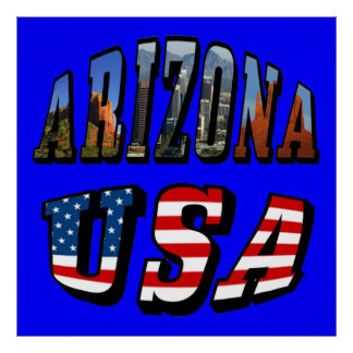 Arizona Picture and USA Flag Text Poster