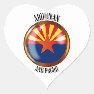 Arizona Proud Flag Button Heart Sticker
