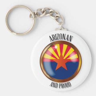 Arizona Proud Flag Button Keychain