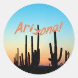 ¡Arizona! Puesta del sol del Saguaro Pegatina Redonda