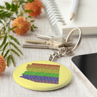 Arizona Rainbow Pride Flag Mosaic Keychain