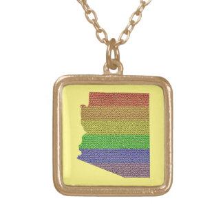 Arizona Rainbow Pride Flag Mosaic Square Pendant Necklace