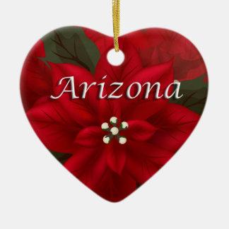 Arizona Red Poinsettia Heart  Keepsake Ornament