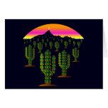 Arizona Saguaro Cactus Christmas Lights at Sunset Card