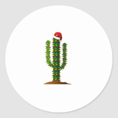 arizona saguaro cactus christmas lights at sunset classic round sticker zazzlecom