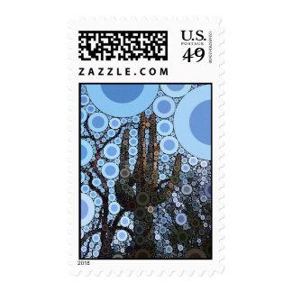 Arizona Saguaro Cactus Concentric Circle Mosaic Postage Stamp