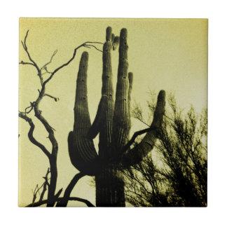 Arizona Saguaro Cactus Distressed Edition Small Square Tile