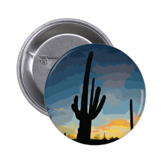 Arizona Saguaro Cactus Southwestern Sunset Pin