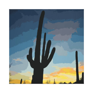 Arizona Saguaro Cactus Southwestern Sunset Canvas Print