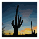 Arizona Saguaro Cactus Southwestern Sunset Poster