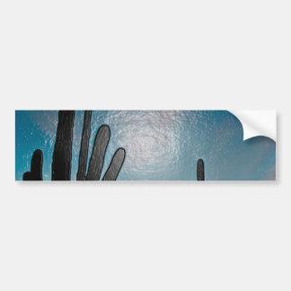 Arizona Saguaro Cactus  Sunset Plastic 3d Art Car Bumper Sticker