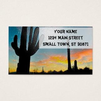 Arizona Saguaro Cactus  Sunset Plastic 3d Art Business Card