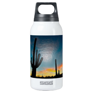 Arizona Saguaro Cactus  Sunset Plastic 3d Art Insulated Water Bottle