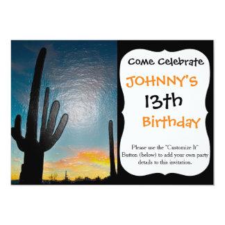 Arizona Saguaro Cactus  Sunset Plastic 3d Art 5x7 Paper Invitation Card