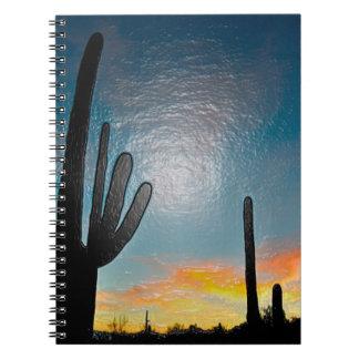 Arizona Saguaro Cactus  Sunset Plastic 3d Art Notebook