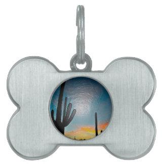 Arizona Saguaro Cactus  Sunset Plastic 3d Art Pet ID Tag