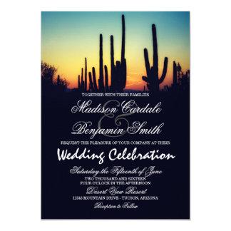 Arizona Saguaro Cactus Sunset Wedding Invitations