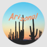 Arizona! Saguaro Sunset Classic Round Sticker