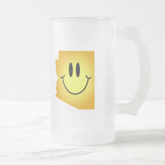Arizona Smiley Face Frosted Glass Beer Mug
