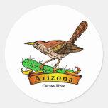 Arizona St. Flower Cactus Wren Round Sticker