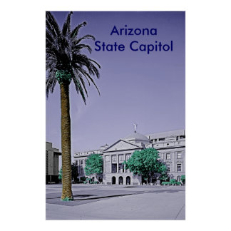 Arizona State Capitol Retro with Touch of Color Poster