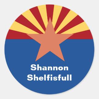 Arizona State Flag Bookplate Sticker