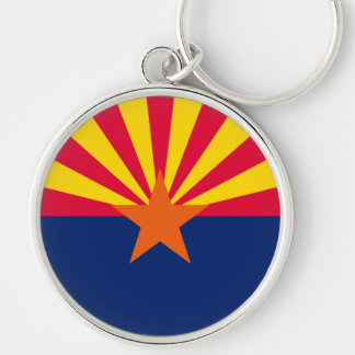 Arizona State Flag Design Silver-Colored Round Keychain