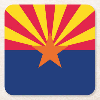 Arizona State Flag Design Square Paper Coaster