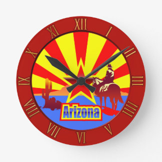 Arizona State Flag Drawing Round Clock