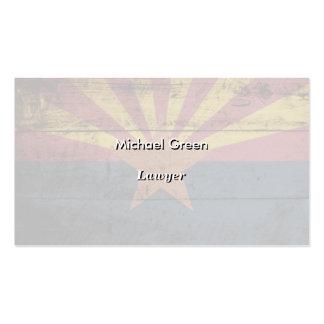 Arizona State Flag on Old Wood Grain Business Card