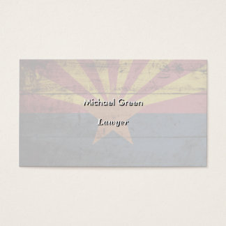 Arizona State Flag on Old Wood Grain Business Card