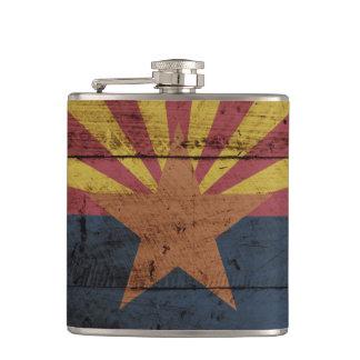 Arizona State Flag on Old Wood Grain Hip Flask