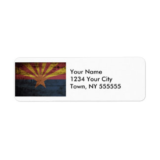 Arizona State Flag on Old Wood Grain Label