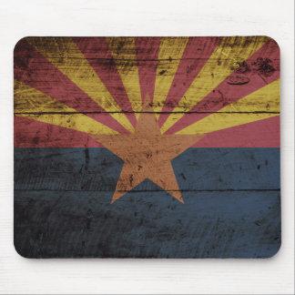 Arizona State Flag on Old Wood Grain Mouse Pad