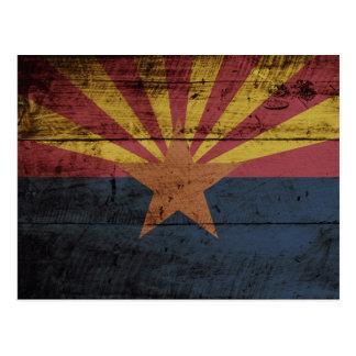 Arizona State Flag on Old Wood Grain Postcard