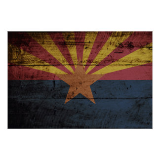 Arizona State Flag on Old Wood Grain Poster
