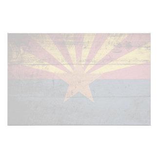 Arizona State Flag on Old Wood Grain Stationery