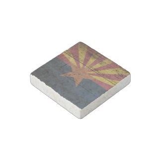 Arizona State Flag on Old Wood Grain Stone Magnet