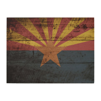 Arizona State Flag on Old Wood Grain Wood Wall Art